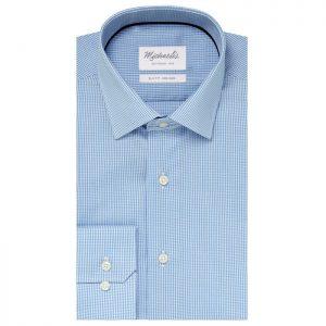 Lichtblauw ruitjes overhemd van Michaelis