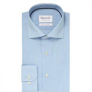 Lichtblauw streep overhemd van michaelis
