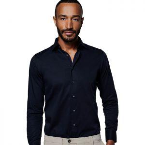 Zwart overhemd van Michaelis met Extra lange mouw