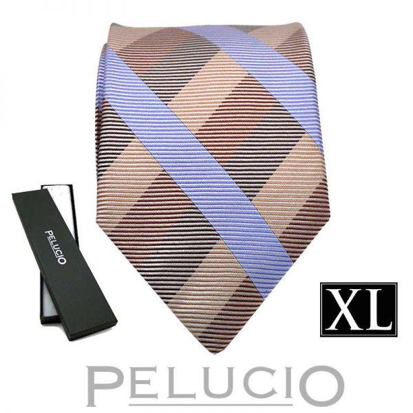 beige-blauwe-ruit-stropdas-van-pelucio-in-xl-uitvoering