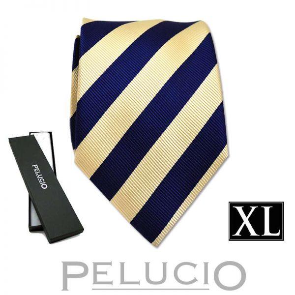 blauw-gele-streep-XL stropdas