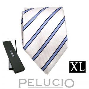 Fijne blauw witte streep stropdas