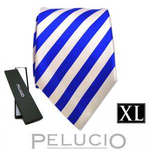 kobalt-blauwe-streep-stropdas-van-pelucio-in-xl-uitvoering