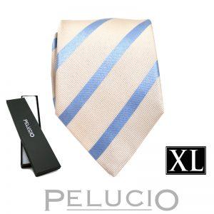 Lichtblauw witte streep stropdas