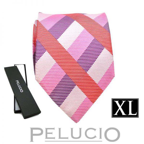 lila-roze-pelucio-ruit-stropdas-in-xl-uitvoering